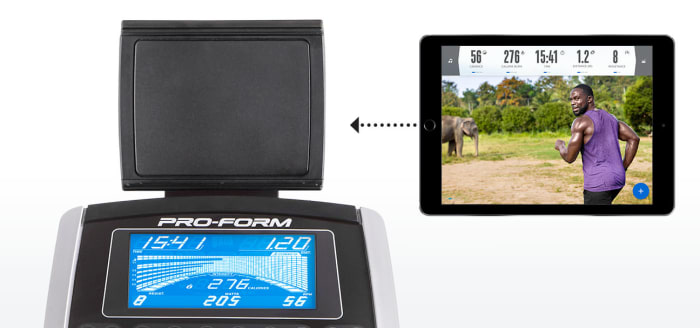 The universal tablet mount allows you to use advanced iFit Coach workouts