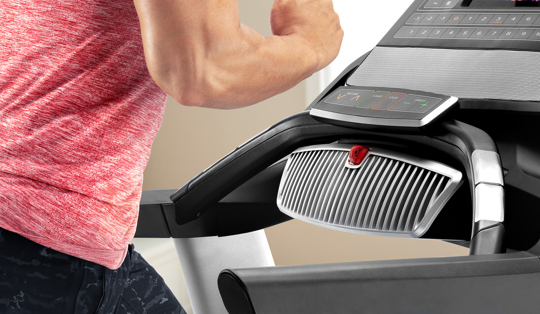 image of the fan on the console of the treadmill