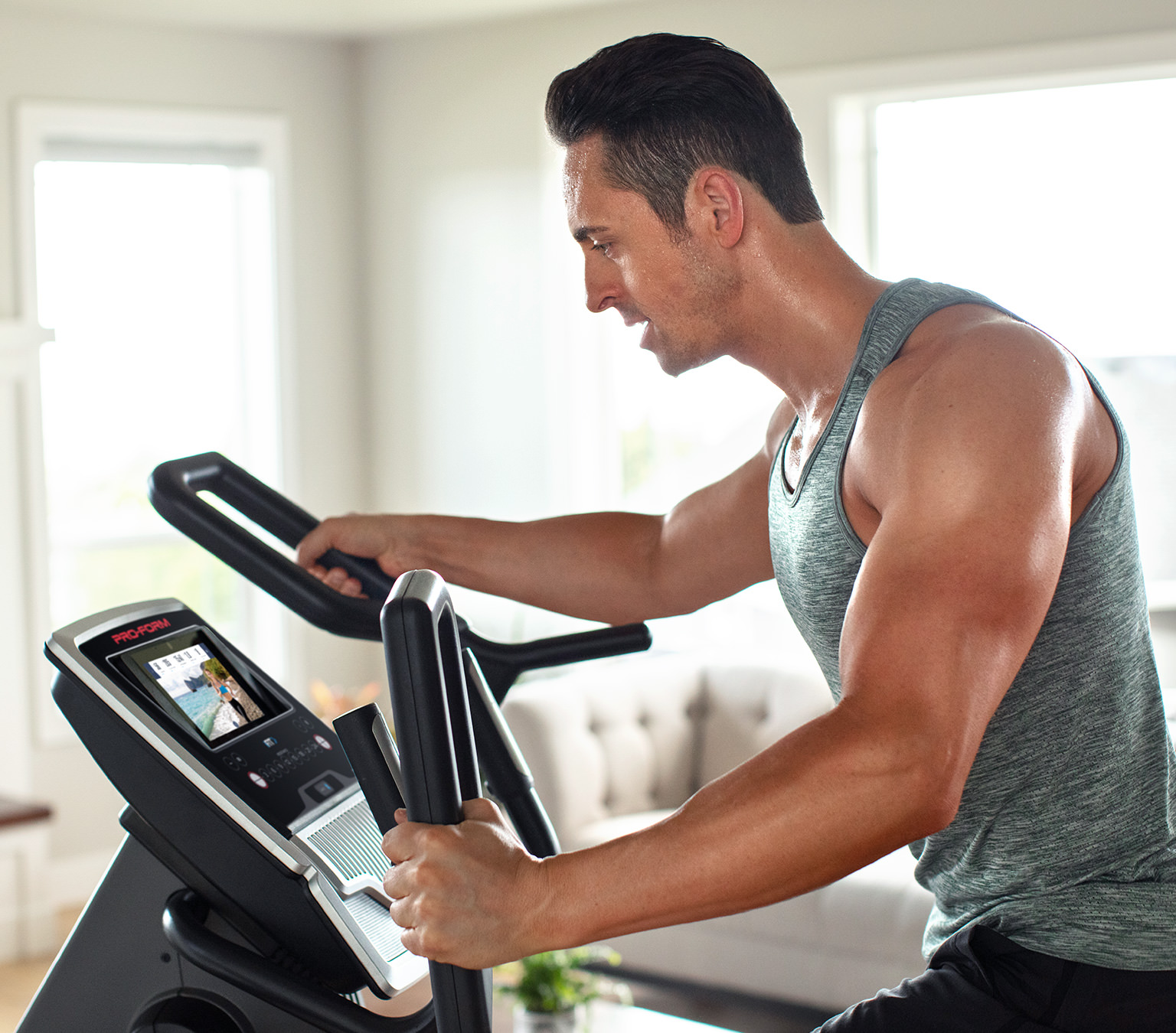 man on exercise equipment