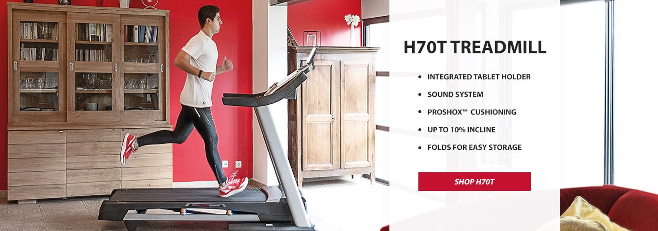 H70T Treadmill, Integrated Tablet Holder, Sound System, Proshox™ Cushioning, Up to 10% incline, Folds for easy Storage.  Shop H70T