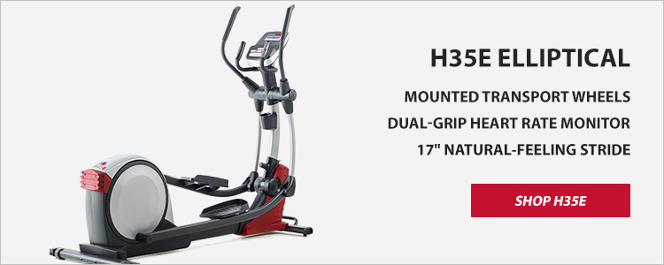 H35E Elliptical, Mounted Transport Wheels, Dual-Grip Heart Rate Monitor, 17inch Natural-Feeling Stride. Shop H35E