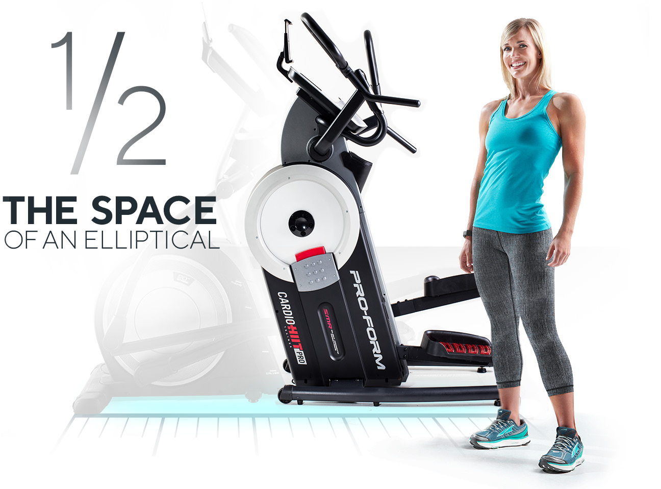 woman standing next to the HIIT Trainer Pro