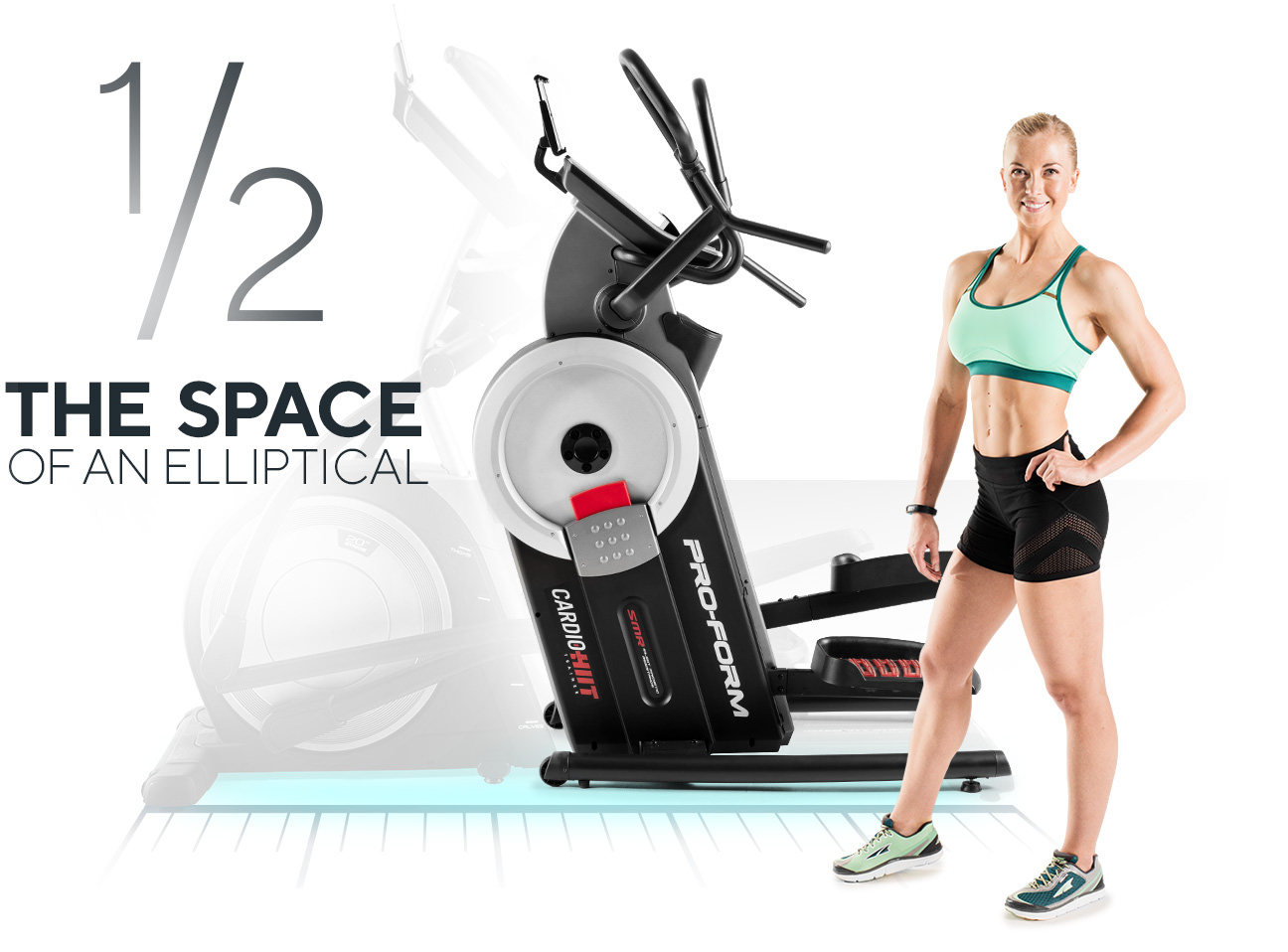woman standing next to the HIIT Trainer