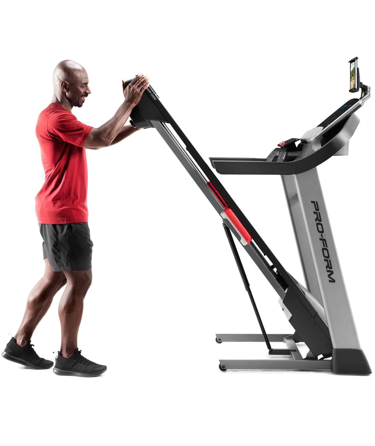 Image showing the treadmill folding up for easy storage