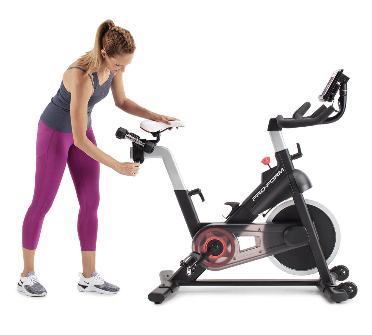 image showing adjustable features of the exercise bike