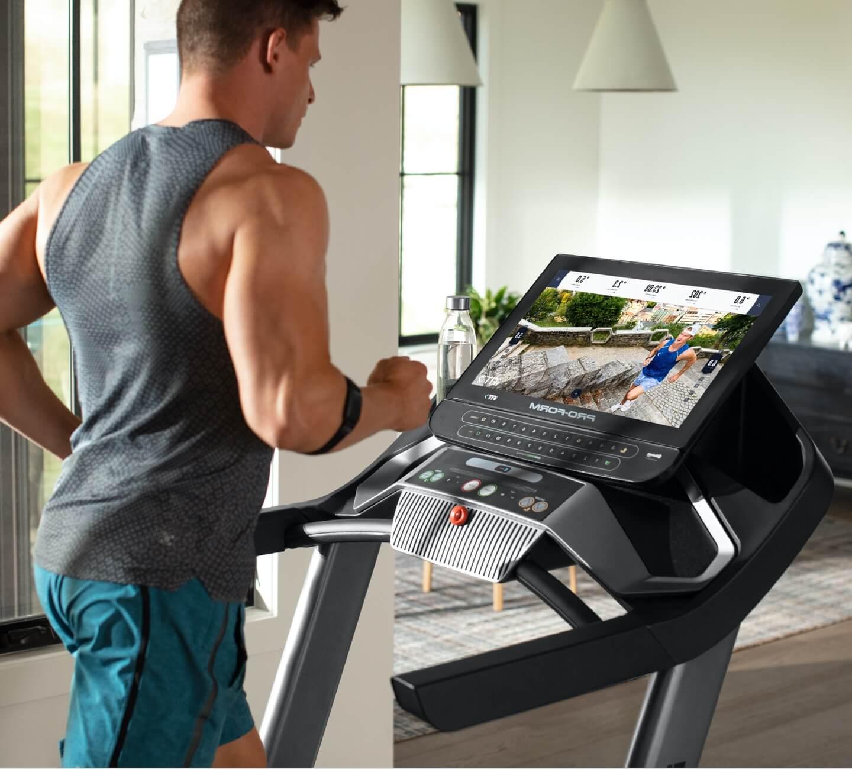 Man running on the Pro 9000 treadmill.